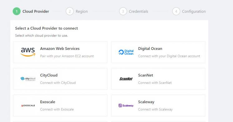 Select DigitalOcean as your cloud provider